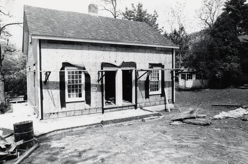 The Quaker meeting house was reconstructed alongside the Cudner-Hyattt House, 1977.