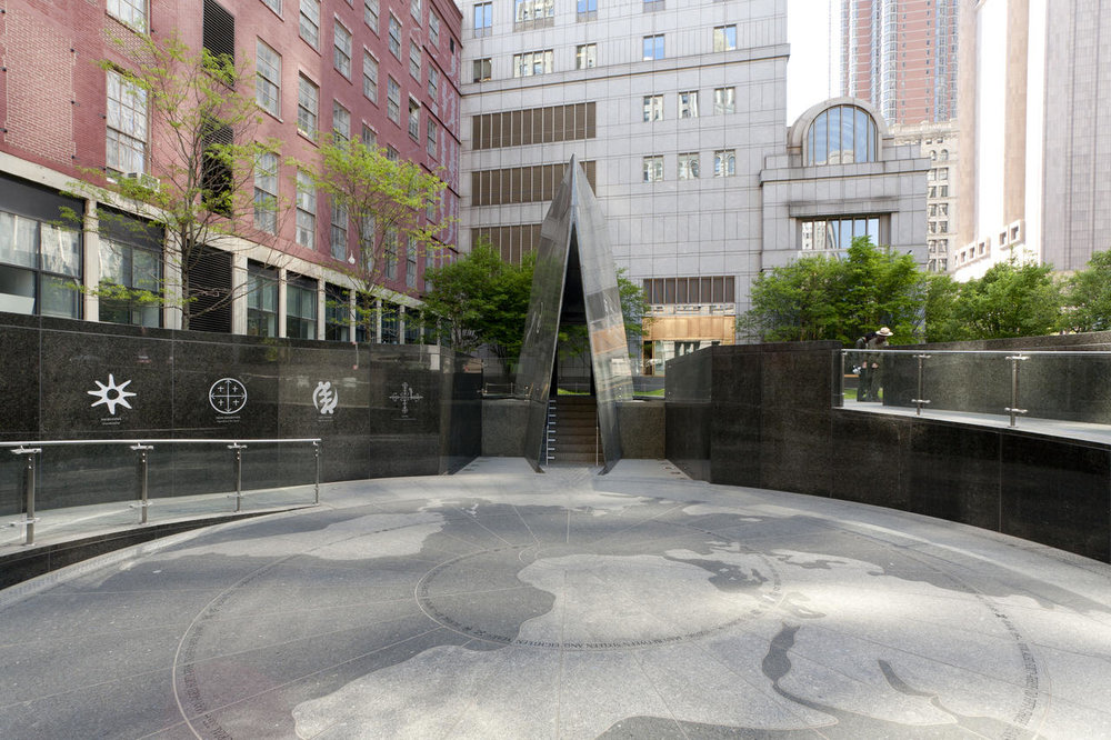 The African Burial Grounds Monument in Lower Manhattan is the site of a cemetery for enslaved and free Africans in the 17th and 18th century.