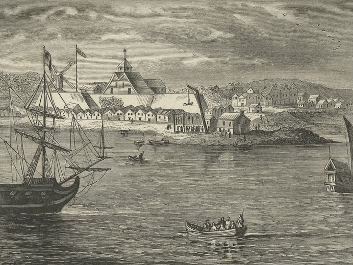 Fort Amsterdam, shown here c. 1665, was built by enslaved Africans. Courtesy of the New York Public Library.