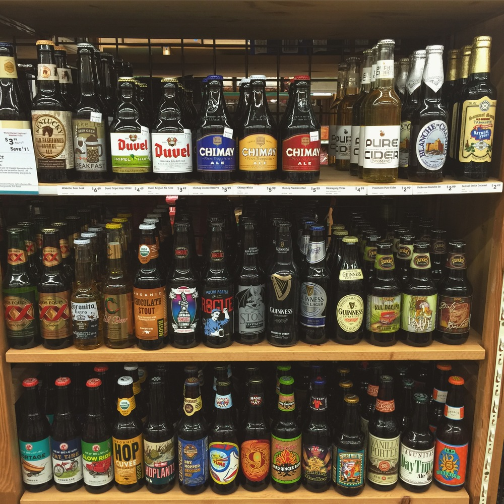 The selection of beer at the store