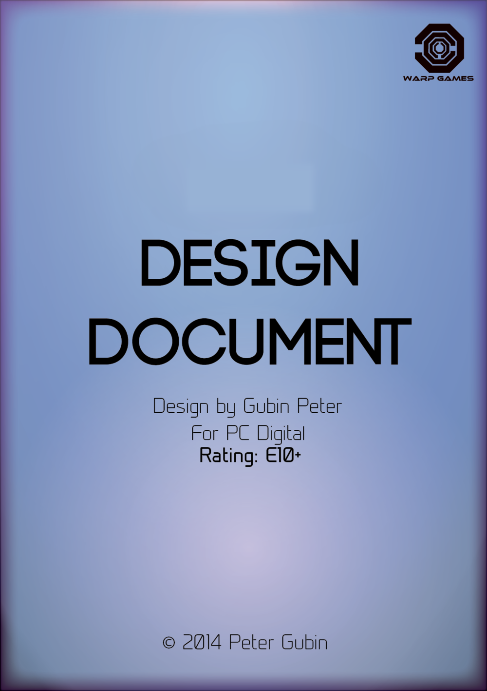 Game design document front page