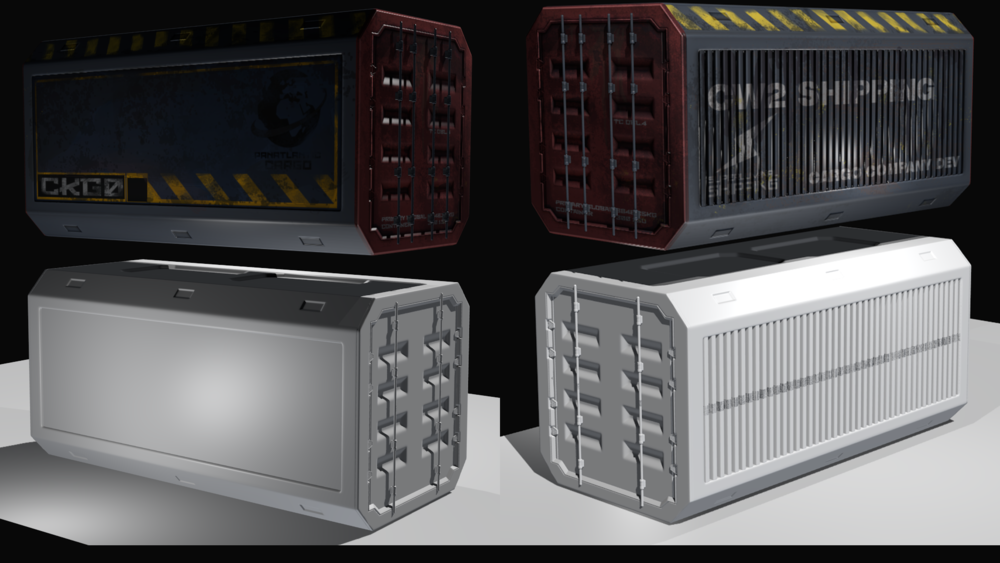 Highpoly container at the bottom, textured lowpoly above