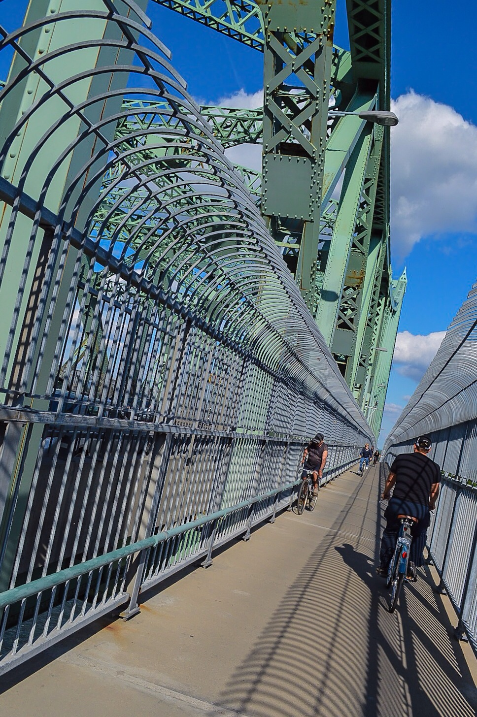 Cycling with Clarence over the Jacques Cartier Bridge.