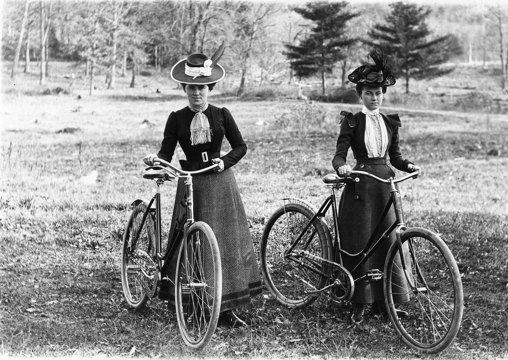 "Female Cyclist and their ""Safety"" bicycle, circa 1900 (Photo courtesy of the   Larry Hart Collection"