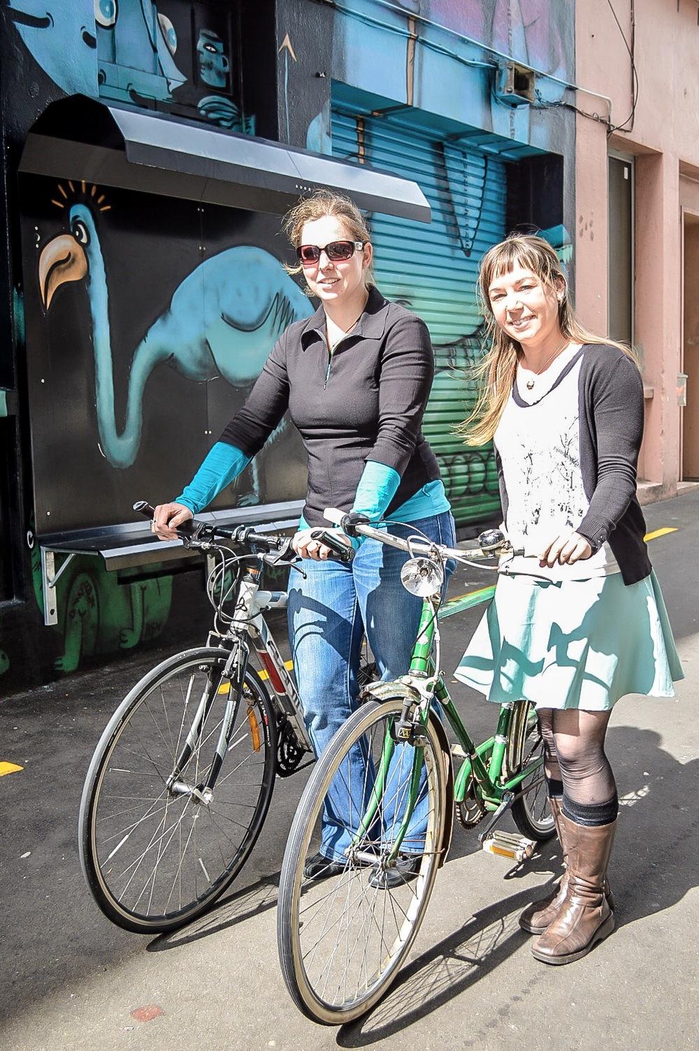 "Christina and Hilleke of ""Frocks on Bikes""."