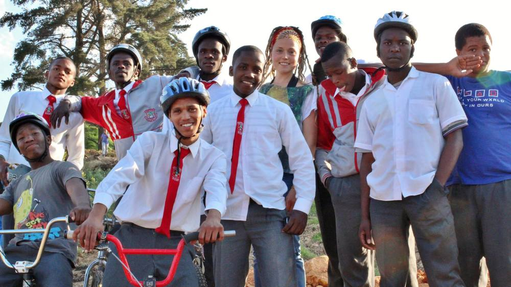 Brenna with some of the youth she's been working with in Fisantekraal. Photo by Carrie Buckmaster