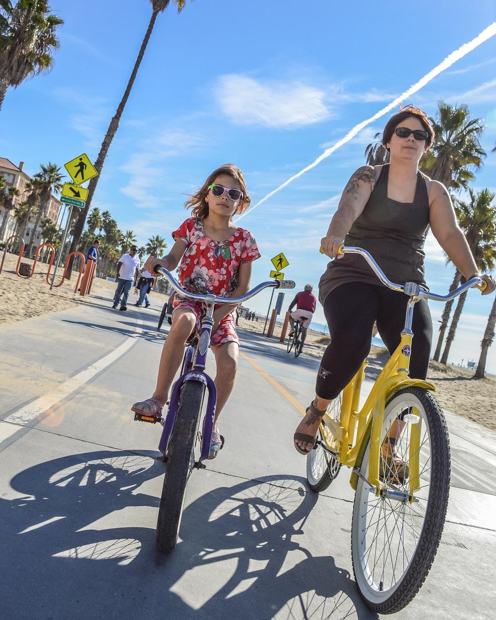 Riding the boardwalk from Venice Beach to Santa Monica, Christmas Day 2013.