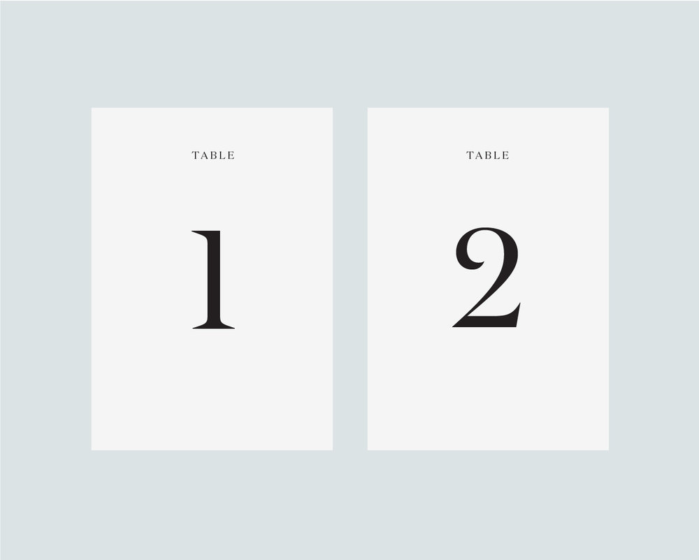 Table numbers - White A5