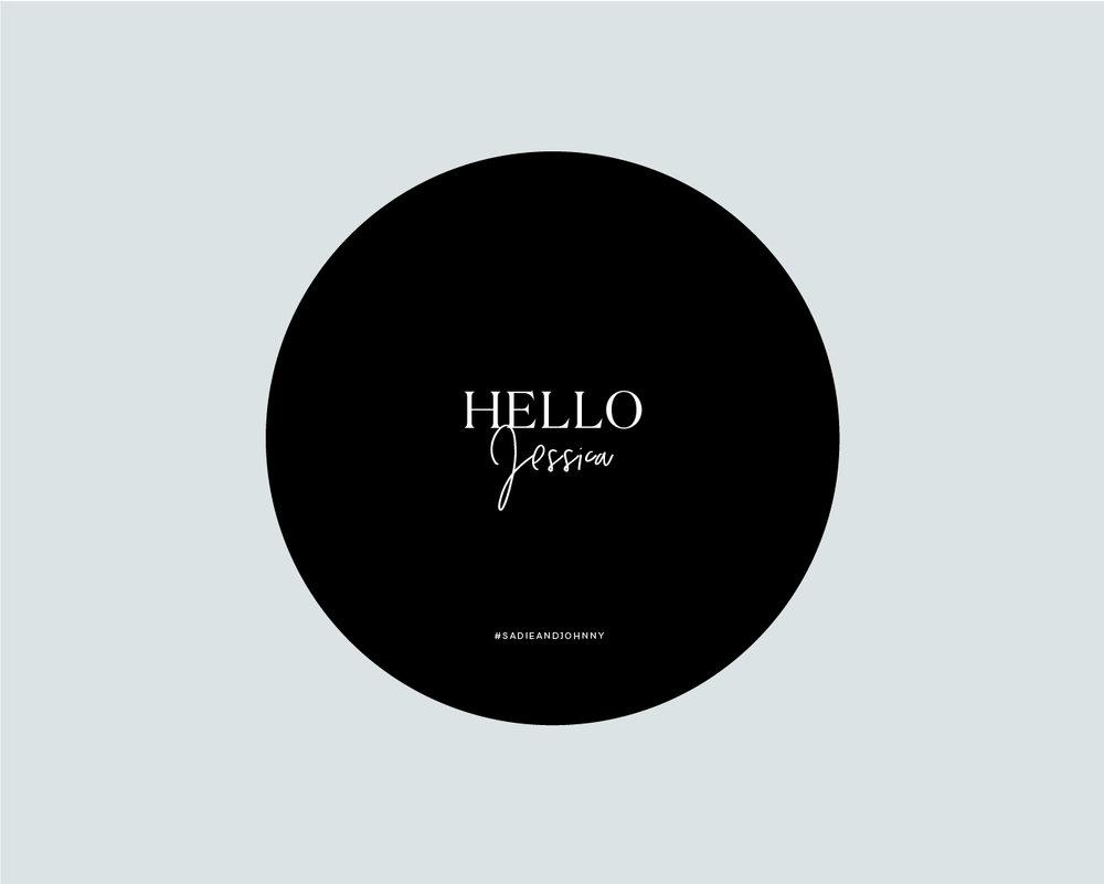 Personalised round menu front - Black