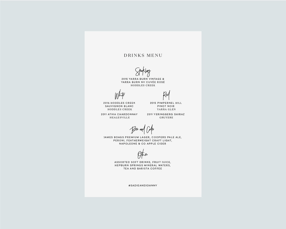 Drinks menu back