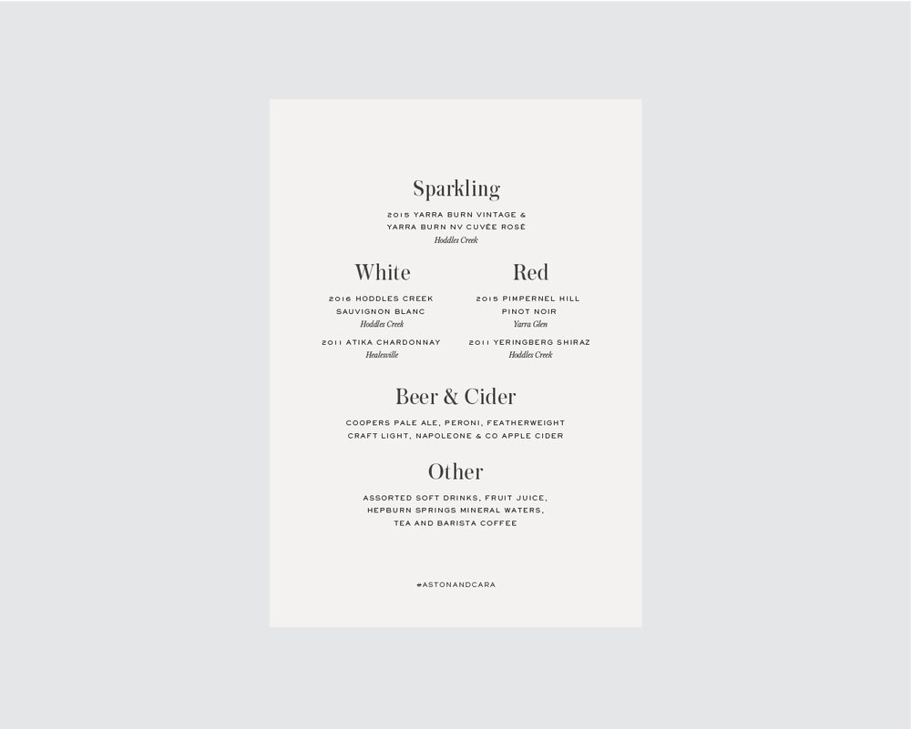 Drinks menu - Single sided, or back