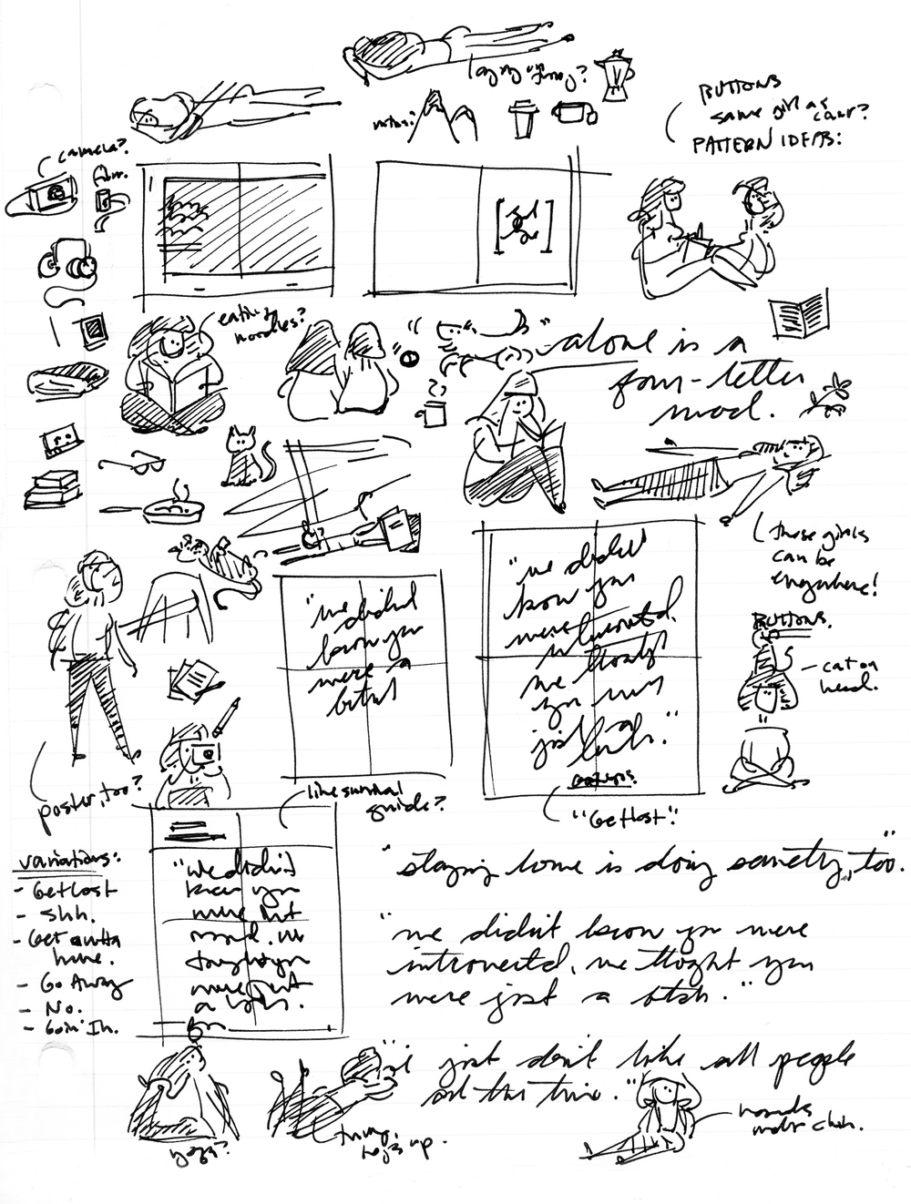 Concept sketches for   Get Lost Journal  .