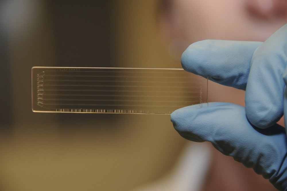 This is an Illumina gene chip. You can fit the code of life for 5 human beings on this thing.