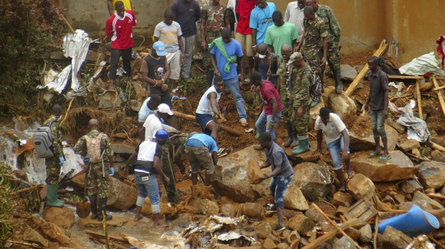 Recovery operations in Freetown. (AP Photo/ Manika Kamara)