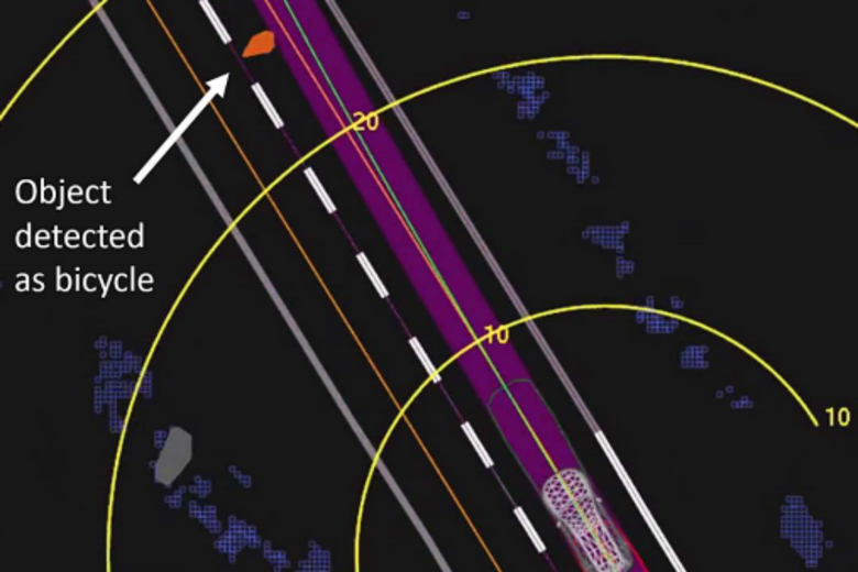 View of the self-driving system data playback at about 1.3 seconds before impact, when the system determined an emergency braking maneuver would be needed to mitigate a collision. The emergency brakes were turned off because there was a human driver in the seat. Yellow bands are shown in meters ahead. Orange lines show the center of mapped travel lanes. The purple shaded area shows the path the vehicle traveled, with the green line showing the center of that path. (Source:    NTSB   )