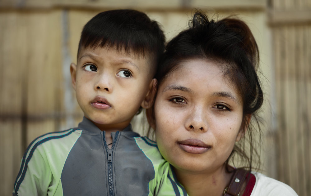 Thai woman and her son
