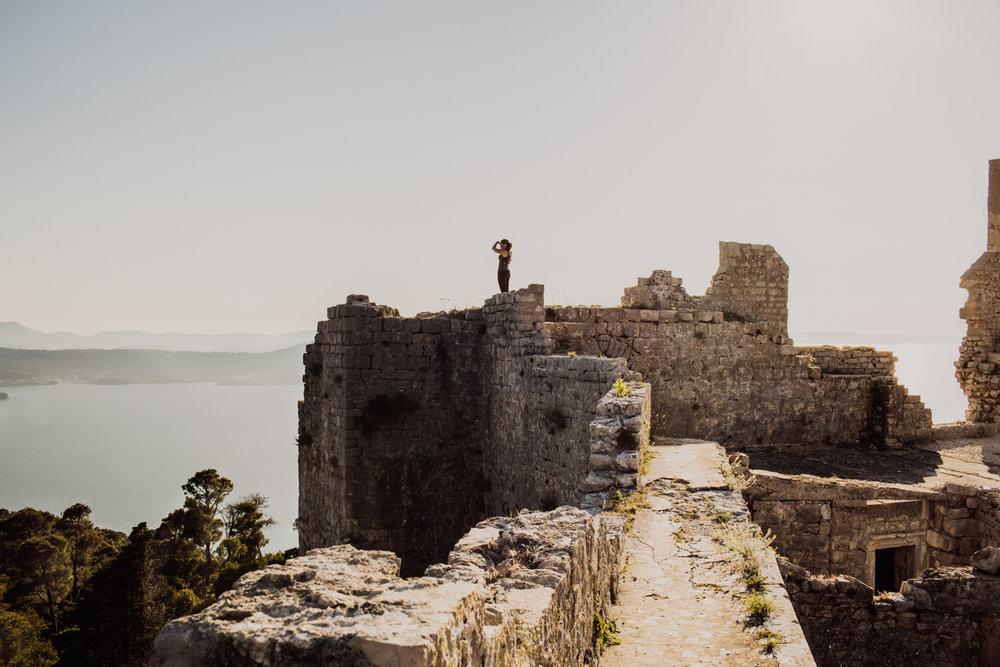 Ruins of the castle St Michel up the Ugljan island in Dalmatia, Croatia.
