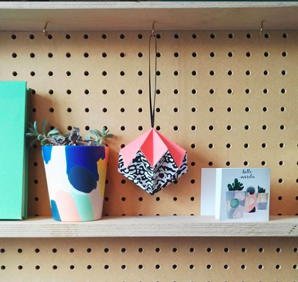 origami diamond on shelf