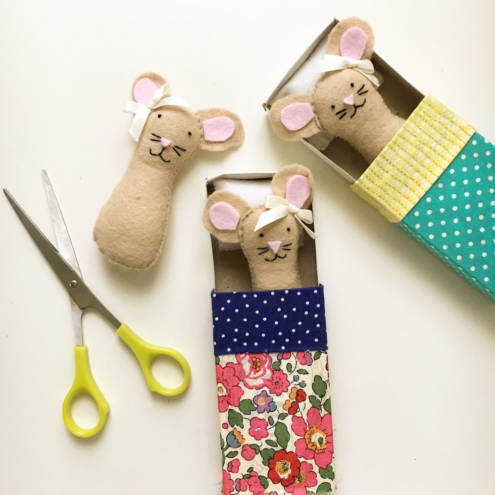 kids sewing classes making mice in matchbox beds