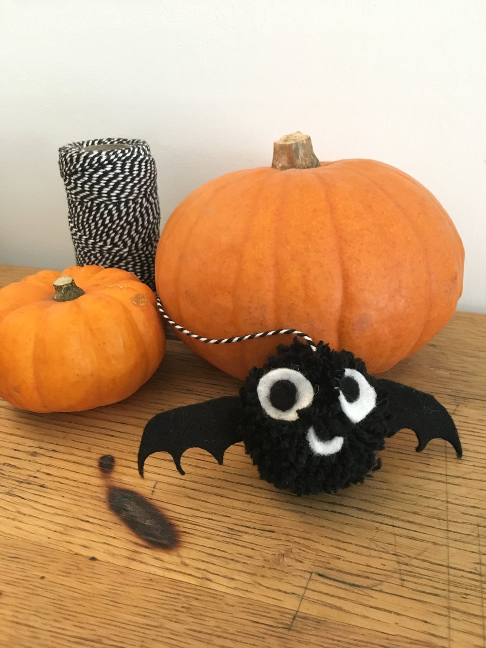 pom pom bat with pumpkins