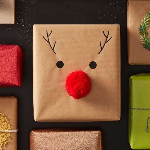Hobbycraft is so on-point with this wrapping! Make a red pom-pom, glue it on and add Rudolph's features with a sharpie. Here's  the full how-to .