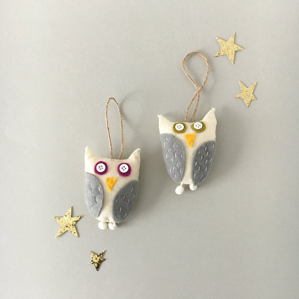 nordic owl ornaments