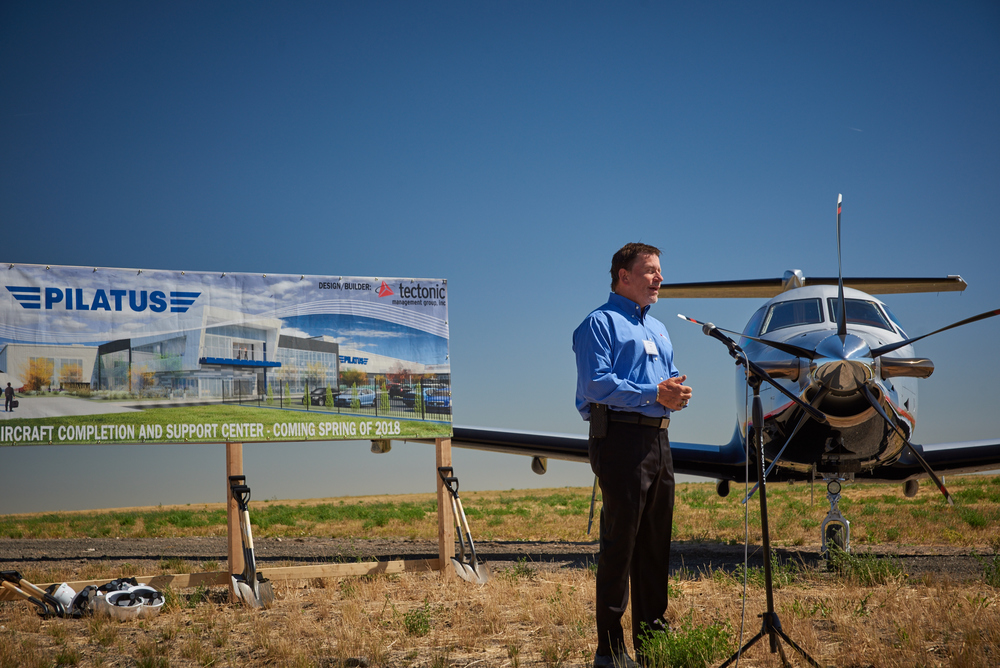 Tectonic Management Group's ground breaking event for the new Pilatus buildings located at the Jeffco Airport.