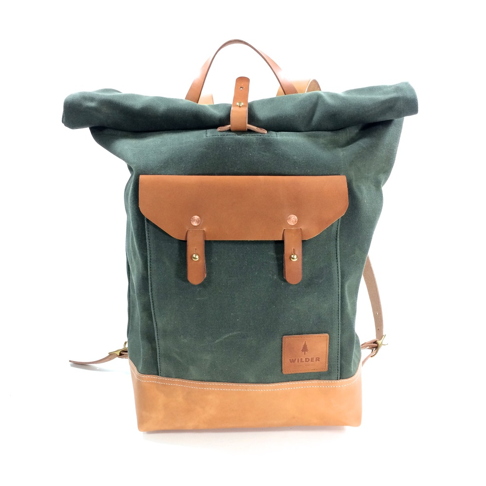 Waxed Twill Roll Top Backpack