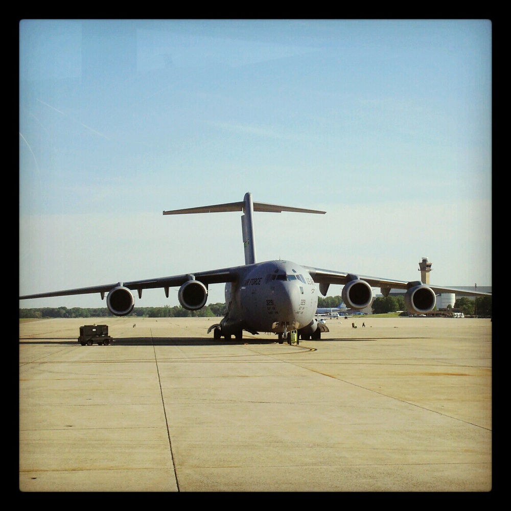 Our C-17 transport back at Andrews Air Force Base, Md., on April 27.