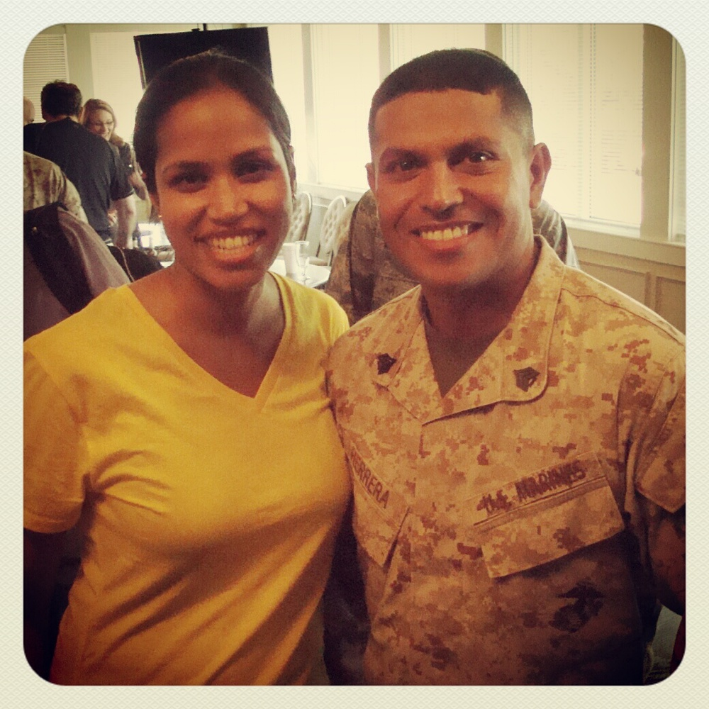 Shocked to learn our drill instructor, Sgt. Jonathan Herrera, smiles!