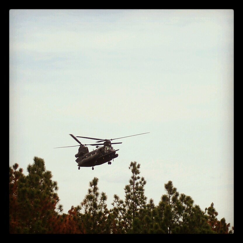 Chinooks arrive.