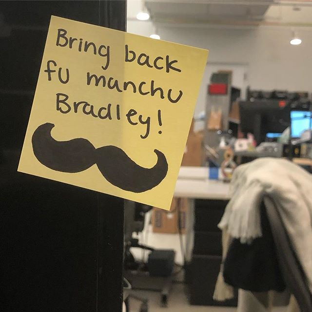 Just saw this on @joycietotheworld, my co-workers desk. #SilentProtest #Movember #StacheToTheFuture