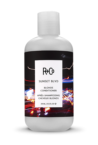 </i><b>SUNSET BLVD</b></br>Blonde Conditioner<br><i>Like Photo-Editing For Your Hair.<br>Eliminates Brassy Tones, Makes Blondes Extra Bright and<br>Greys Fantastically Silver </br></i></br> <i> $29.