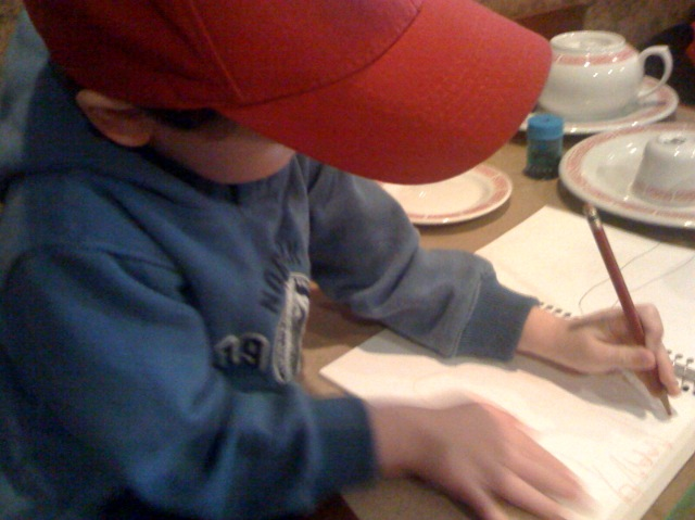 Little artist at work...