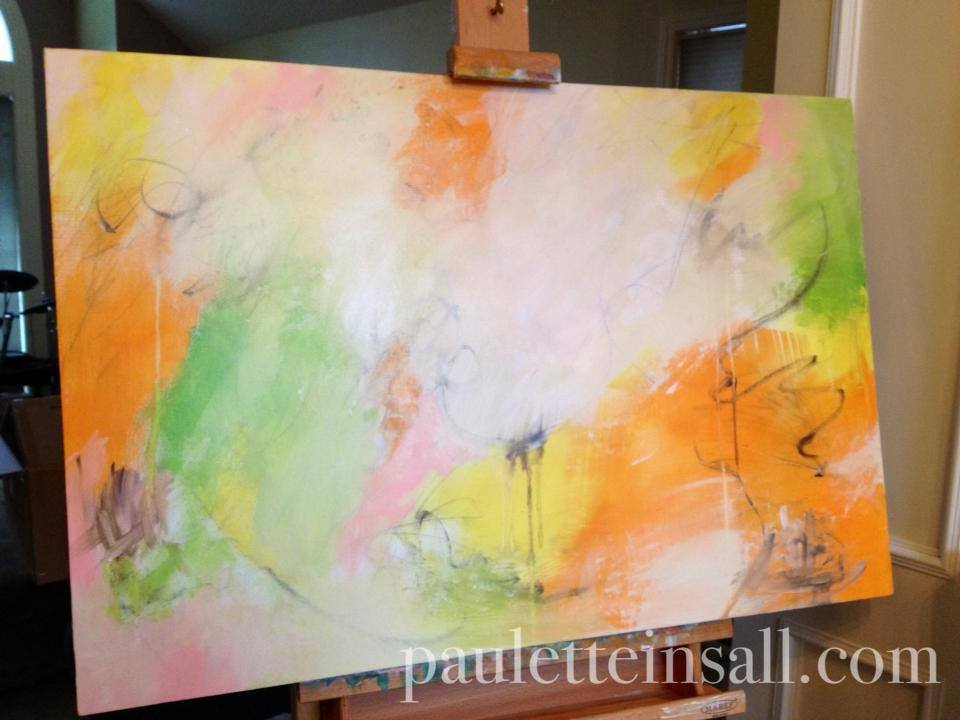 abstract painting in progress