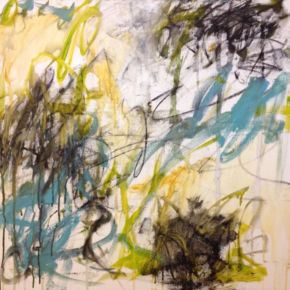 beginning of an abstract painting I started during the workshop