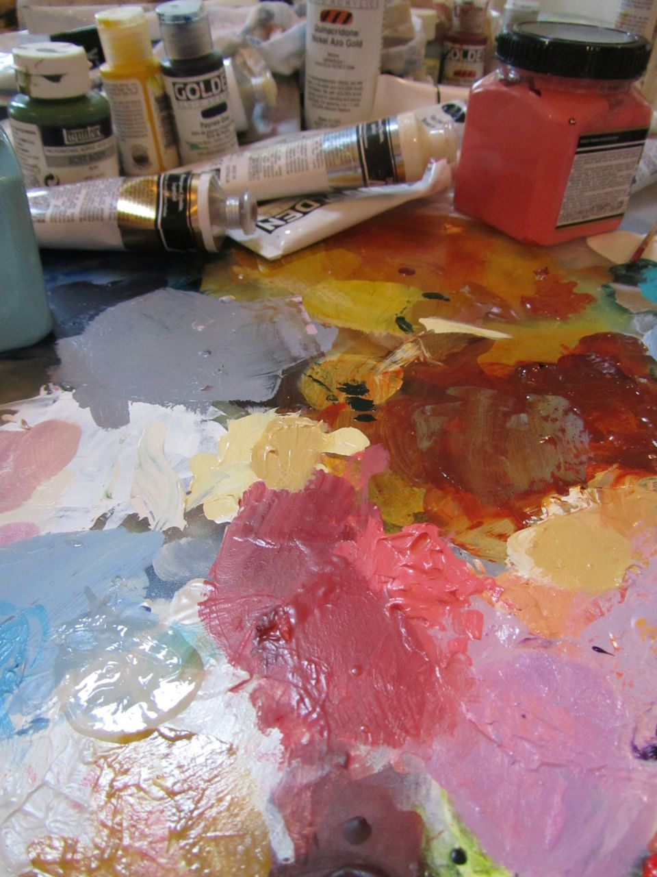A close up of the palette on my worktable