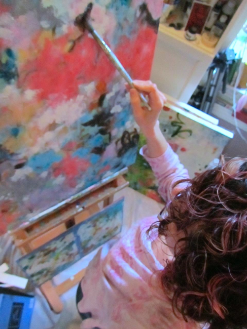 Paulette at work on one of her large expressive abstract paintings in her Portland, Oregon art studio