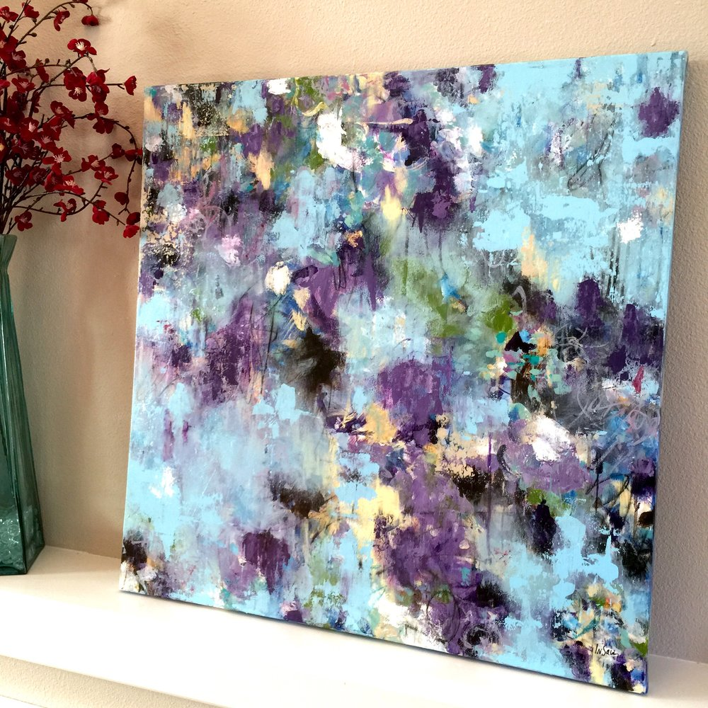 Among the Lilies - 30x30 inch original acrylic painting on gallery canvas