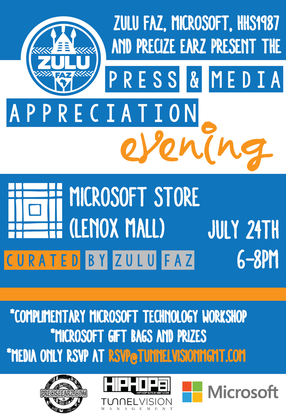 Microsoft, HipHop Since 1987, Precise Earz and I have teamed up to present the Press & Media Appreciation Evening on July 24th 2014 from 6-8PM at the Microsoft Store at the Lenox Mall in Atlanta, Georgia. Members of press and media in Atlanta are invited. We will be giving a Microsoft Technology Demo, gift bags and prizes. Please RSVP at Rsvp@tunnelvisionmgmt.com