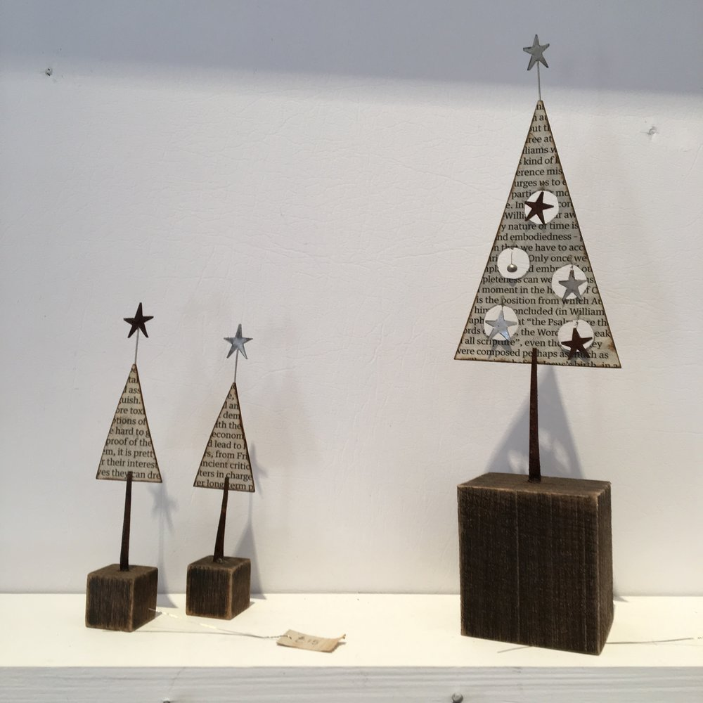 Christmas tree sculptures by Sarah Jane Brown