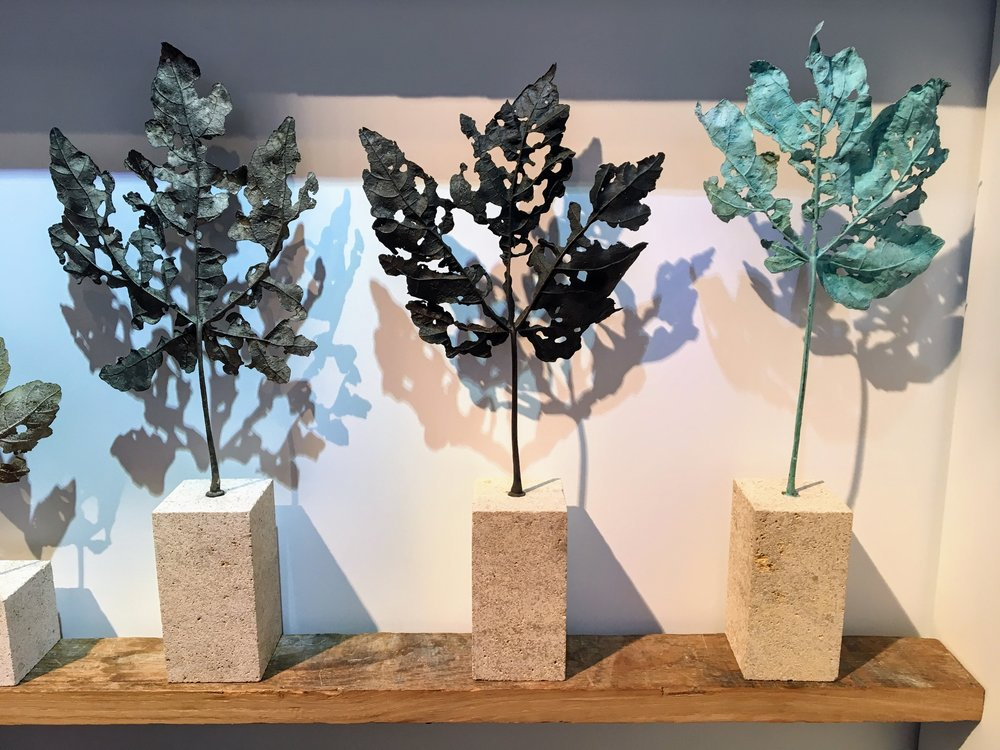 Sculptures cast from leaves in bronze by  Ashleaf