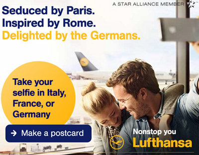 Lufthansa's selfie-driven pitch. The airline brand teamed up with mobile advertising platforms Opera Mediaworks and Celtra for the campaign, which focused on providing personalized selfie backgrounds to a targeted audience. The advertising platforms aimed to excite travel enthusiasts with the selfie and gyro ad formats as a primary form of user engagement. Read the Full Article here:http://www.mobilemarketer.com/cms/news/advertising/18858.html