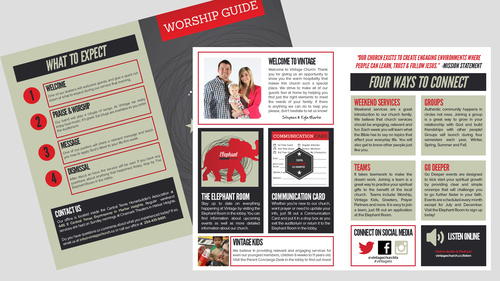 Bulletin/Worship Guide - Adobe InDesign Template — One Church Resource