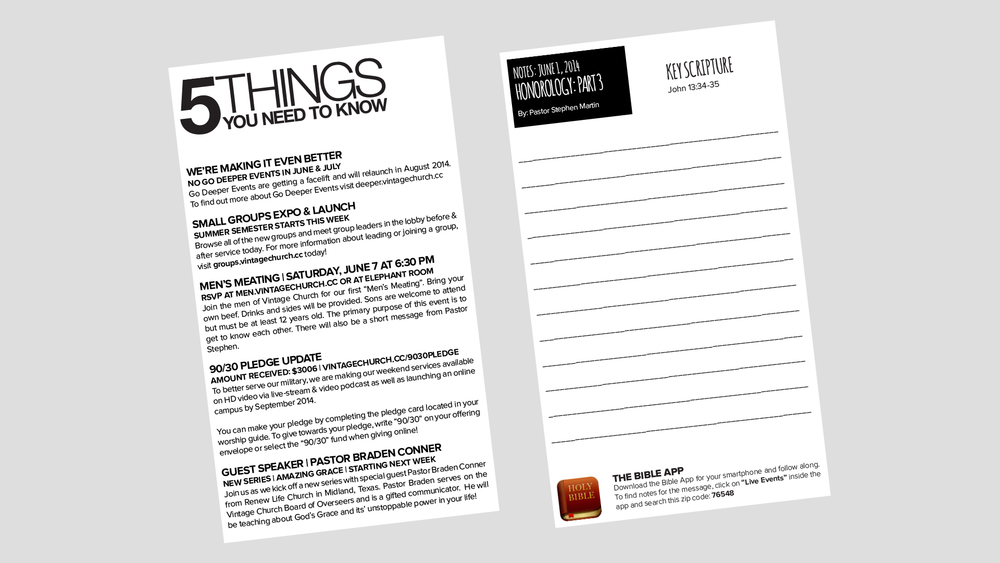 Notes & 5 Things - Adobe InDesign Template — One Church Resource