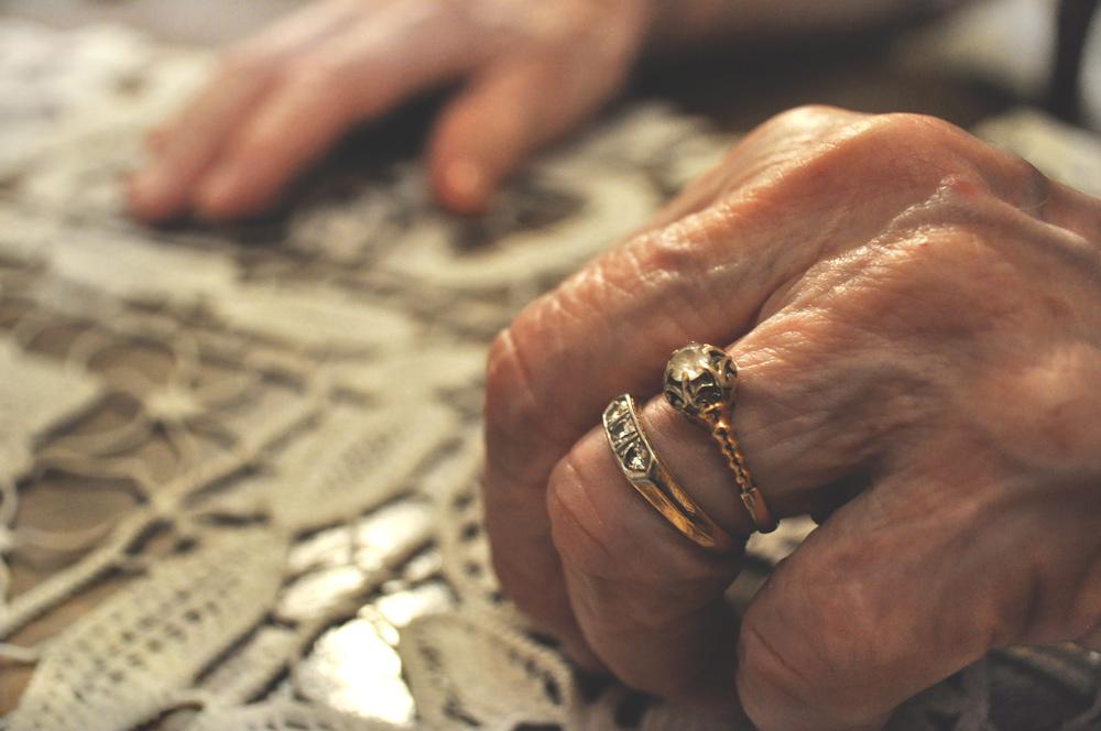 Grandma's hands at her kitchen table. Belgrade, Serbia.