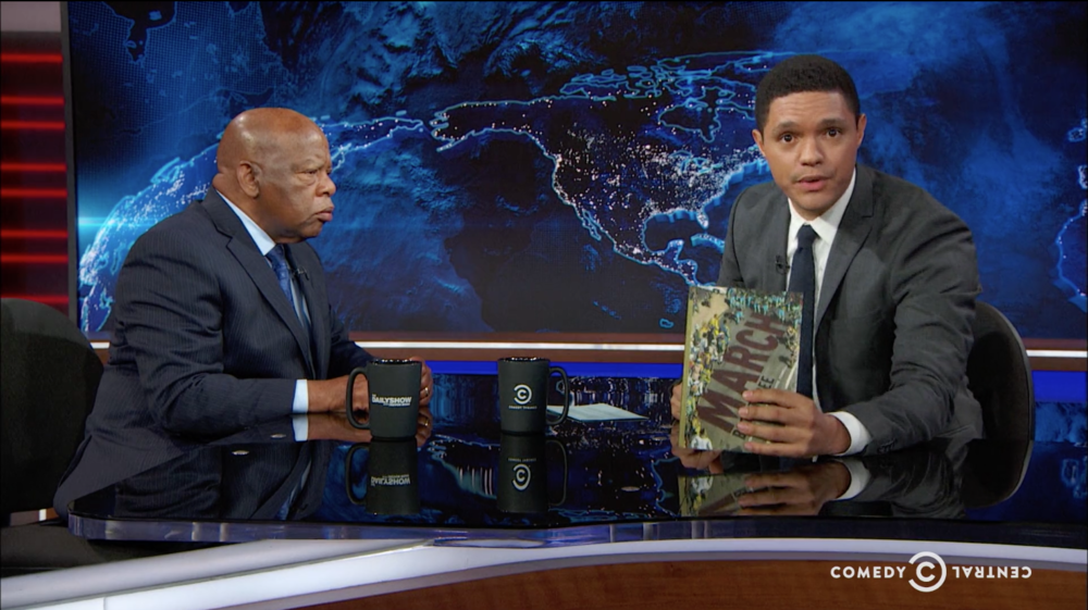 Representative John Lewis discussing his National-Book-Award-winning graphic memoir  MARCH: Book 3  on  The Daily Show .