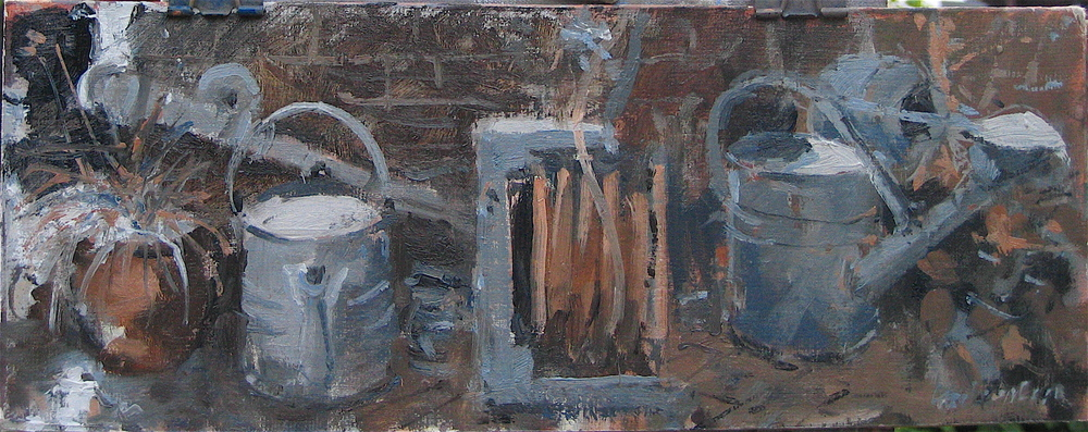 By the Tap in the Garden: 6 x 14 3/4 in: Oil study on muslin covered board