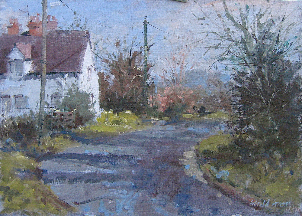 Country Lane Leicestershire: size 12 x 16in: Oil study on muslin covered board: