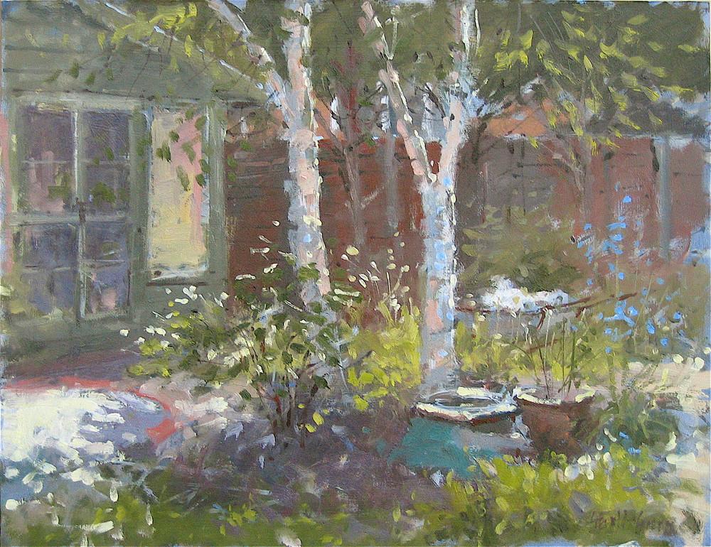 In the Garden: 12 x 14 1/4in: Oil study on board